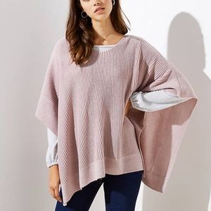 Loft Pink Ribbed Poncho Sweater M/L